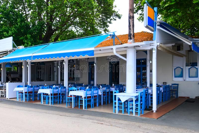 Typical greek taverna, cafe and restaurant, Greece stock photography