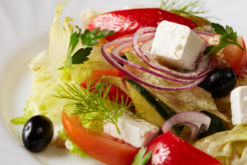 Traditional Greek salad. Mediterranean cuisine royalty free stock image
