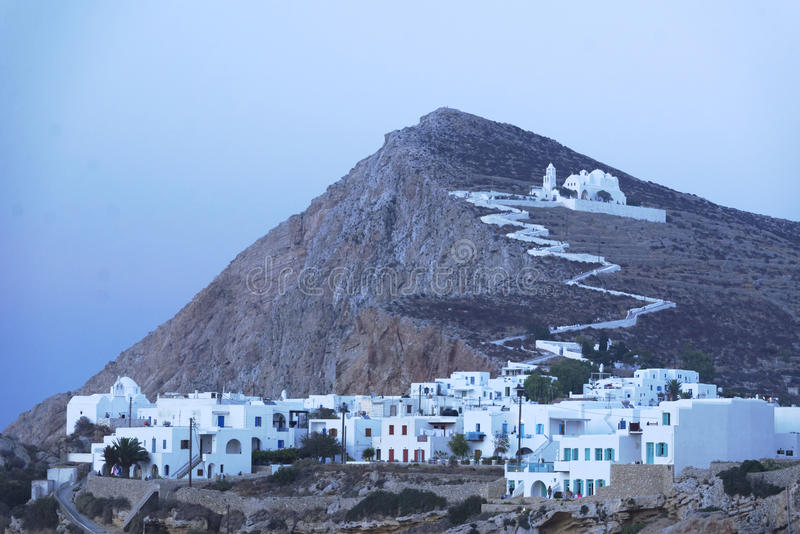 Traditional Greek village and church stock photo