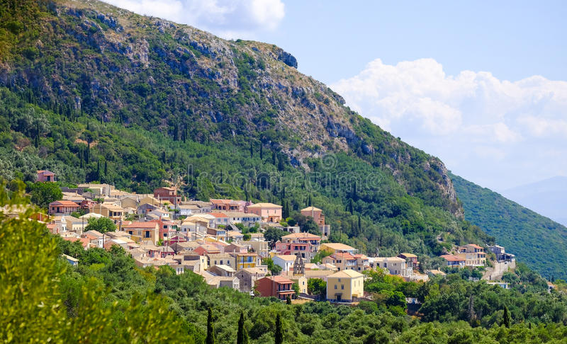 Traditional Greek village on the island of Corfu stock image