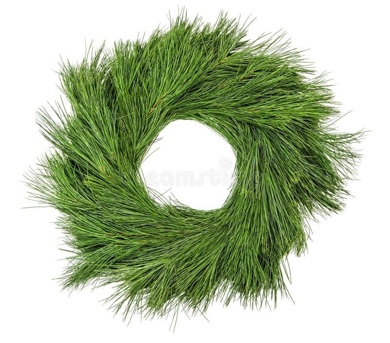 Traditional green christmas decoration evergreen pine wreath stock photos
