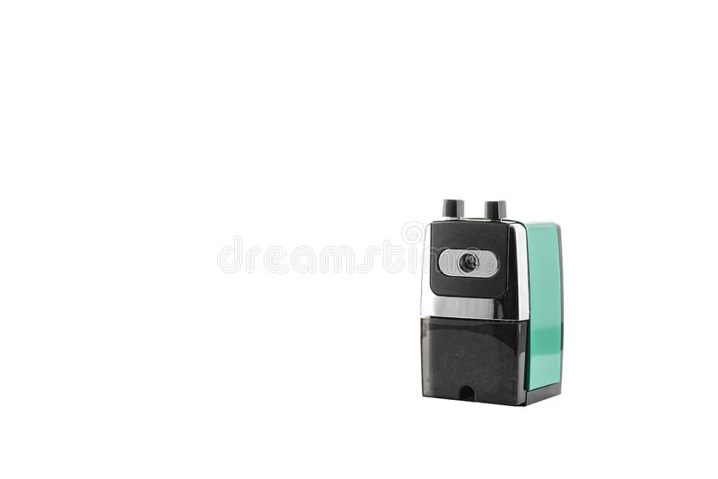 Traditional green hand crank sharpener on a white background stock photos