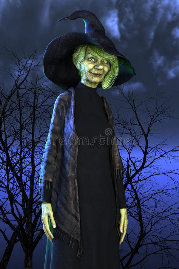Traditional green skinned Halloween Witch or Hag. Traditional style green skinned Halloween Witch. Suited to a wide range of design uses including book cover art stock illustration