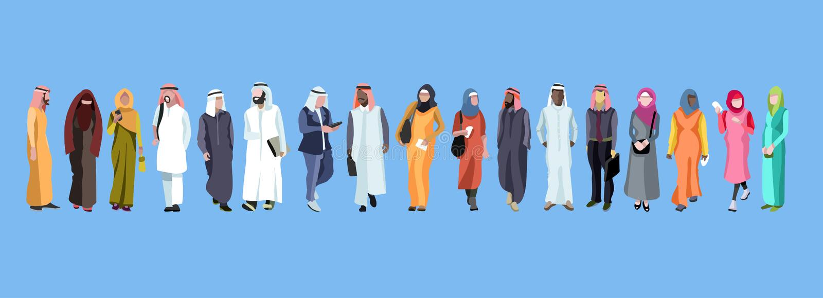 Traditional group of arab male and Female royalty free illustration