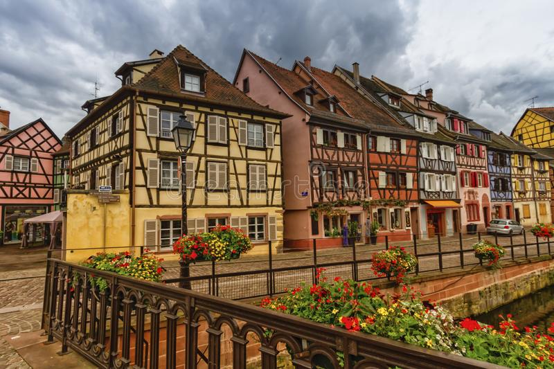 Traditional half-timbered houses in Colmar, Alsace, France stock image