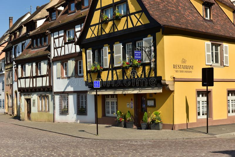 Traditional half-timbered houses in the old town. Colmar, Haut-Rhin, Alsace, France royalty free stock photo