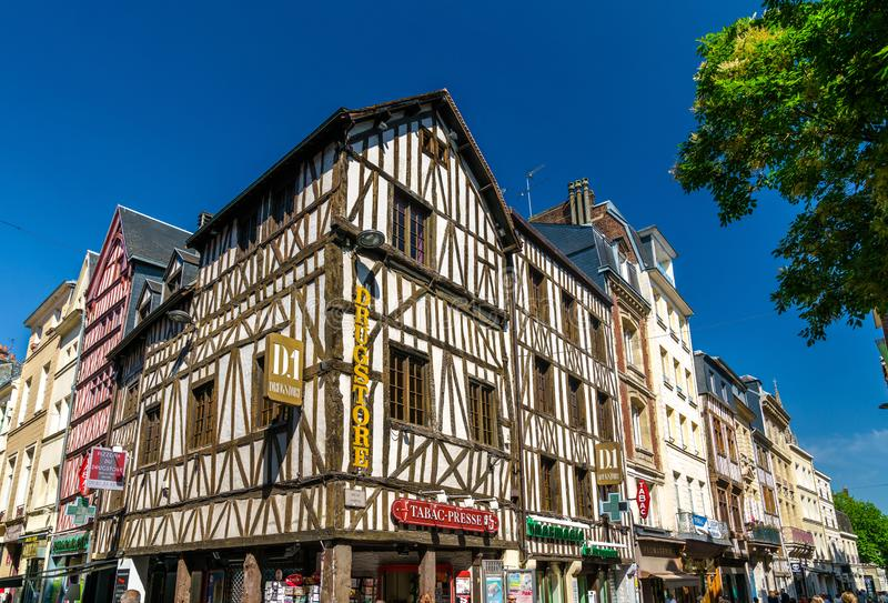Traditional half-timbered houses in the old town of Rouen, France stock images