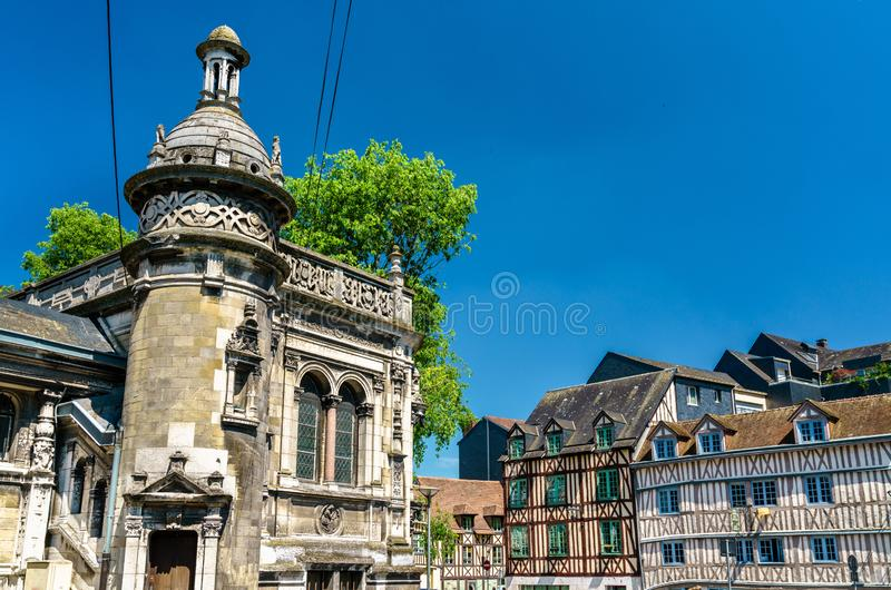 Traditional half-timbered houses in the old town of Rouen, France royalty free stock photos