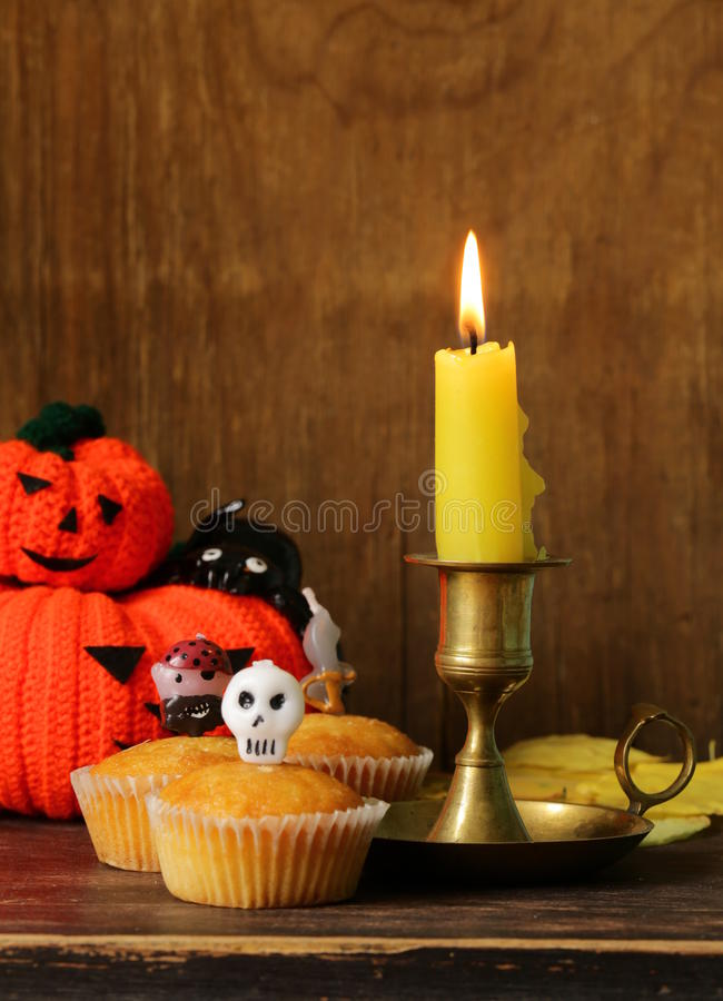 Traditional halloween treats cupcakes stock photo