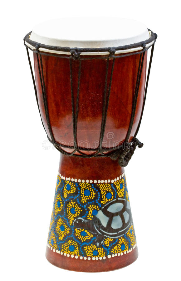Traditional hand drum isolated on white. Background royalty free stock photography