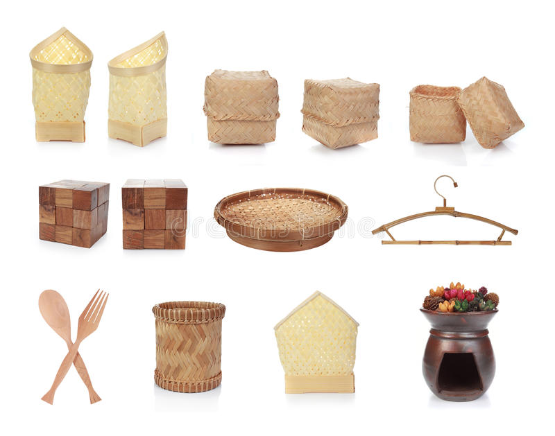 Traditional hand made craft. Isolated over white background stock photography