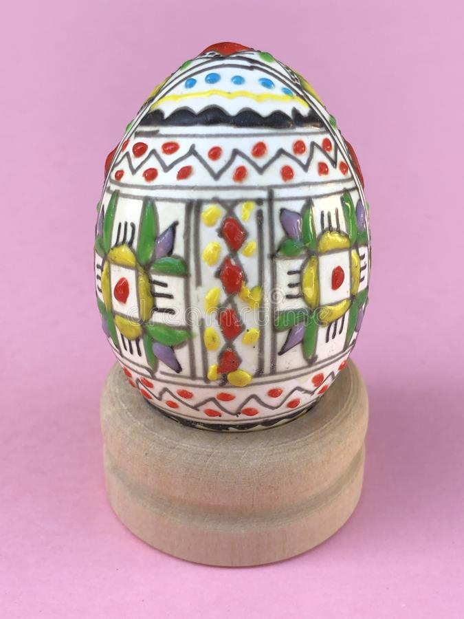 Traditional hand-painted egg, Easter symbol royalty free stock photography