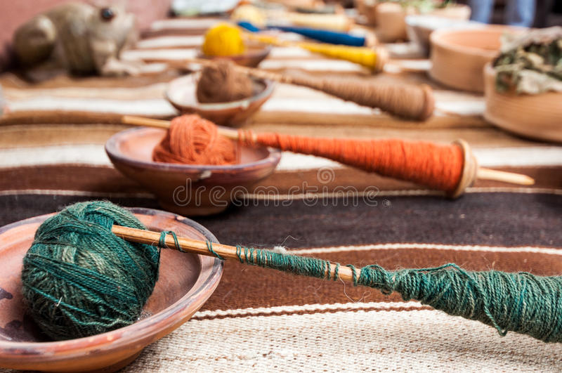 Traditional hand weaving in the Andes Mountains, Peru royalty free stock images