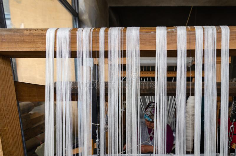 Traditional hand weaving in the Kastamonu in Turkey stock images