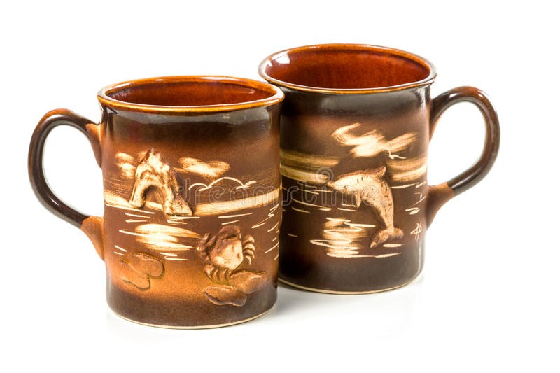 Traditional handcrafted cups royalty free stock photo