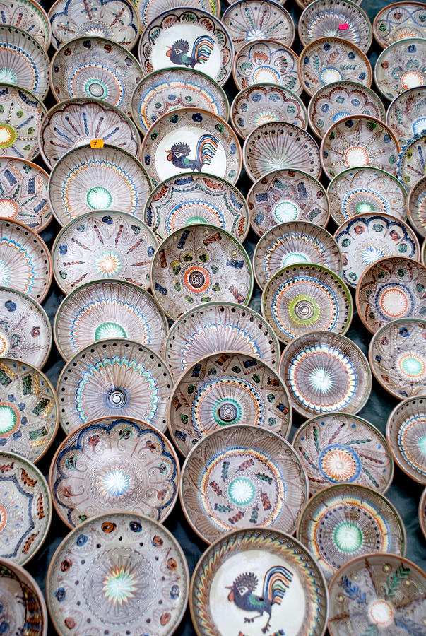 Traditional handcrafted romanian pottery plates stock photo