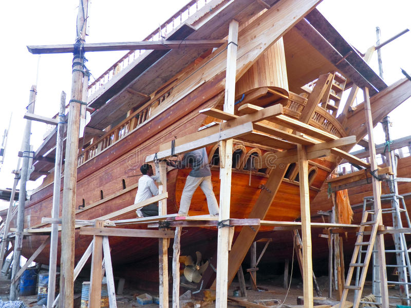 Traditional handiwork shipbuilding Sur Oman stock images