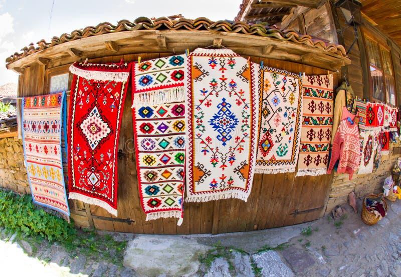 Traditional handmade carpets in Zheravna stock photography
