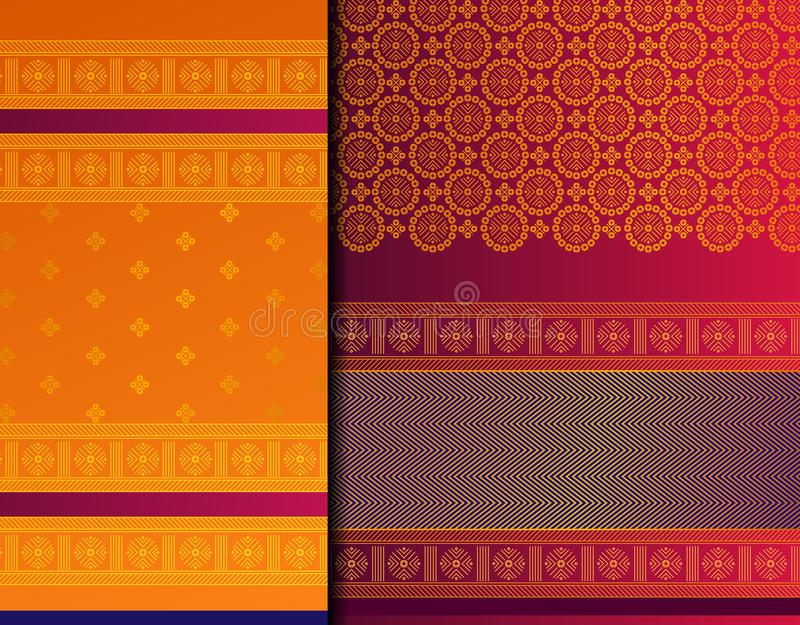Indian Pattu Sari Vector pattern set royalty free stock images