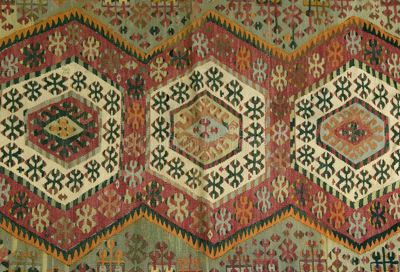 Traditional handmade Turkish Carpet. A beautiful and colored Traditional handmade Turkish Carpet royalty free stock images
