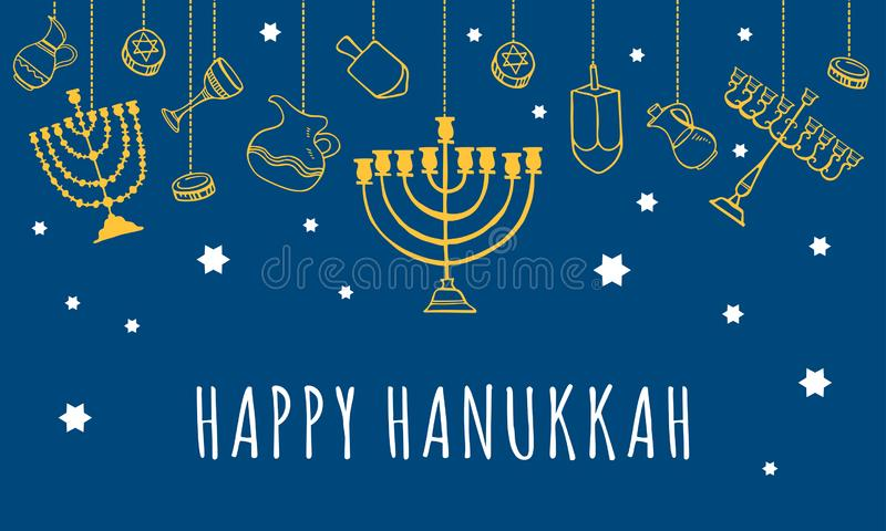 Traditional Hanukkah objects hanging on the top of the page. Greeting card design template. Hand drawn outline sketch illustration stock photo