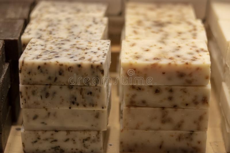Traditional herbal soap. There are plant varieties in white color. It was taken in front of the store royalty free stock photography