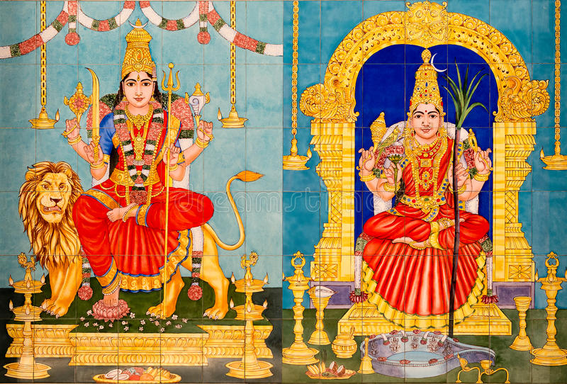 Traditional Hindu Gods painted images royalty free stock images