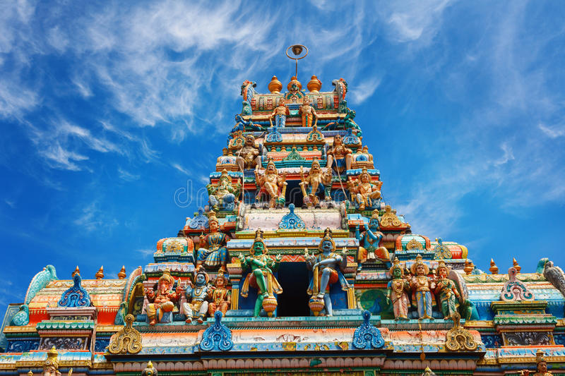 A traditional Hindu temple in Galle road 8000, Colombo, Sri Lanka. Exterior of traditional Hindu temple in Galle road 8000, Colombo, Sri Lanka stock photo
