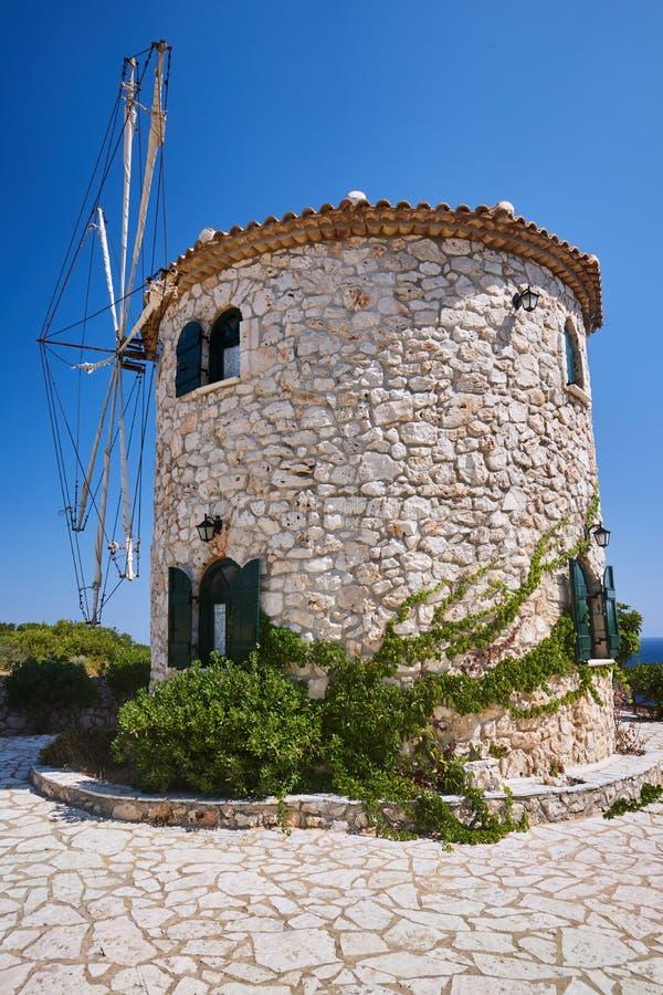 Traditional, historic, stone windmill on Zakynthos island stock photos