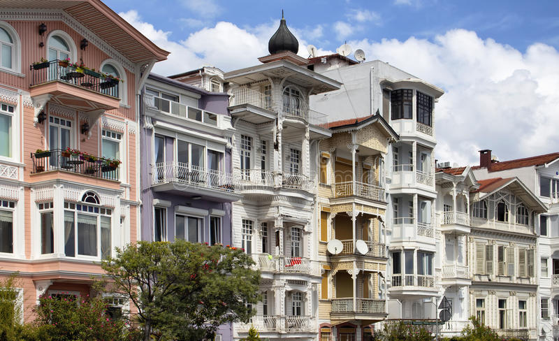 Traditional, historical, colourful, old buildings. By Bosphours in Istanbul. Architectural details shows the style dated in 19th century. Historic neighborhood royalty free stock images