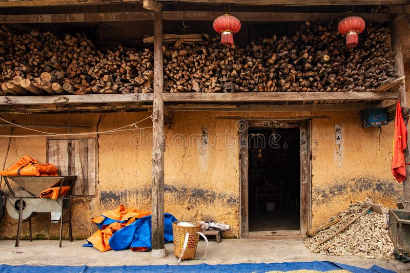 Traditional hmong house in Ha Giang Province, Northern Vietnam royalty free stock image