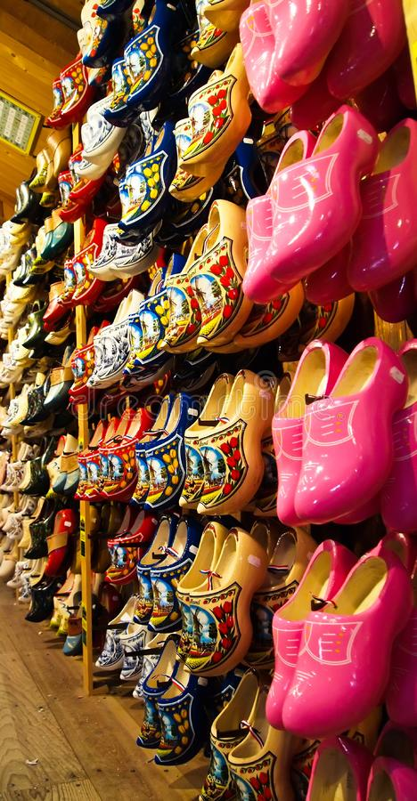 Traditional Holland wooden shoes royalty free stock photos