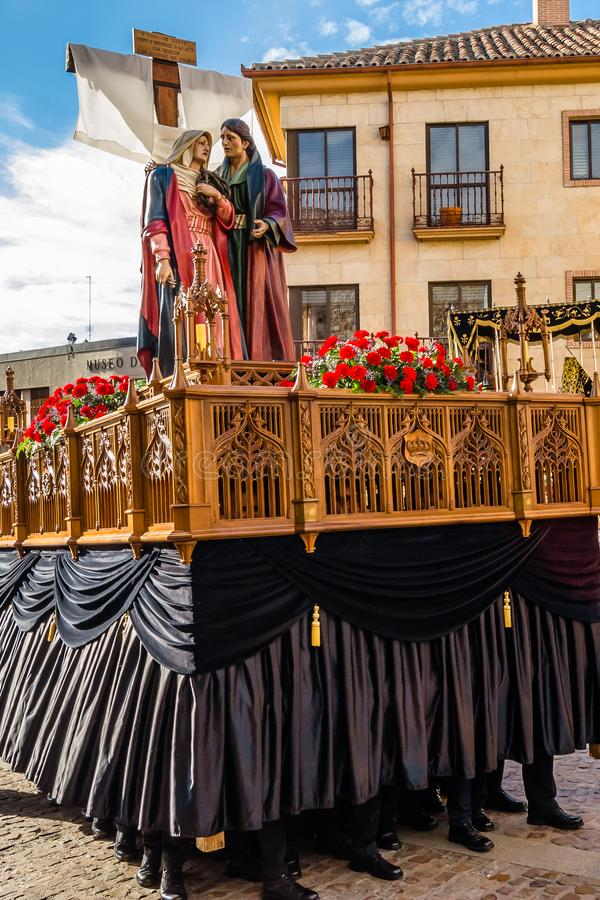 Traditional Holy Week procession in Zamora, Spain. ZAMORA, SPAIN - MARCH 25, 2016: Traditional Spanish Holy Week procession on Holy Friday in the streets of stock photo