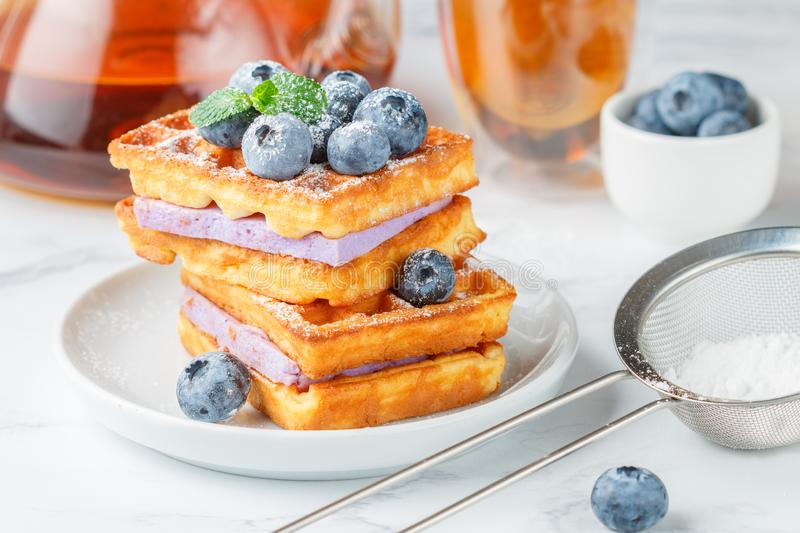 Traditional homemade Belgian Viennese waffles with fresh berries, blueberry souffle and powdered sugar stock image