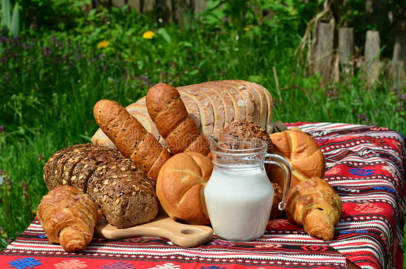 Traditional Homemade Bread And Fresh Milk Stock Photos