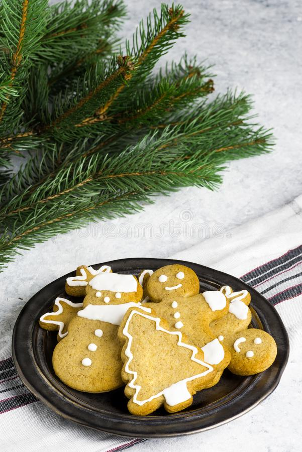Traditional homemade Christmas biscuits on a delicate background. Homemade Christmas biscuits on a delicate background stock image