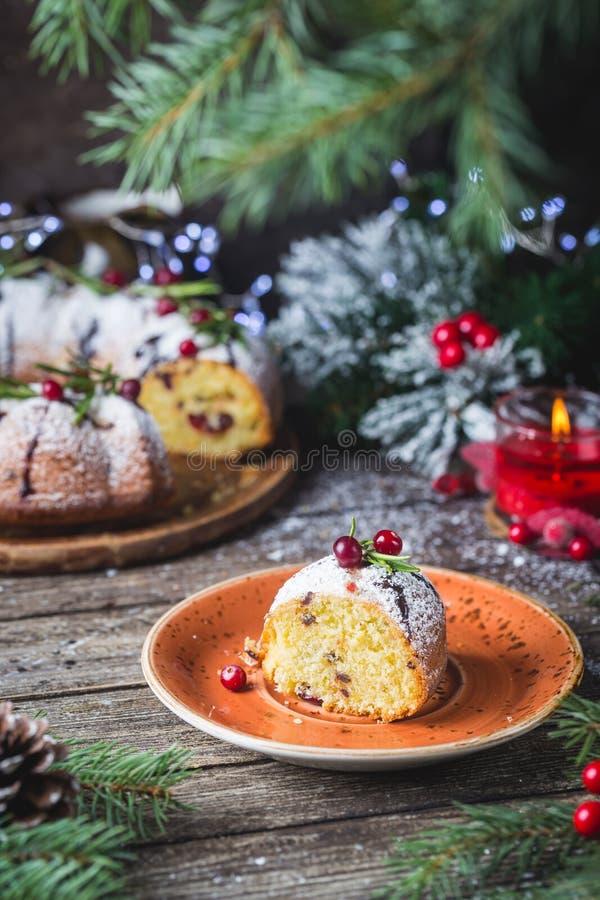 Homemade christmas cake stock image