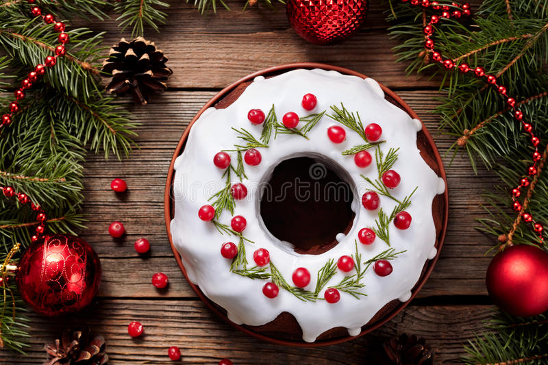 Traditional Homemade Christmas Cake Holiday Stock Image - Image of ...