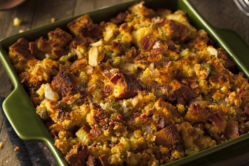 Traditional Homemade Cornbread Stuffing. For the Holidays royalty free stock photo