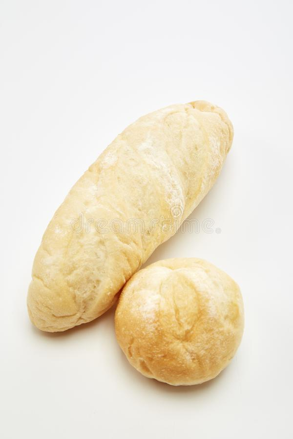 Traditional homemade french bread. On a white background royalty free stock photography