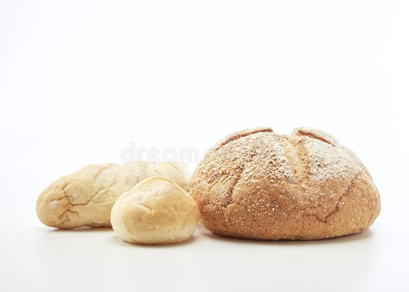 Traditional homemade french bread. On a white background stock photos