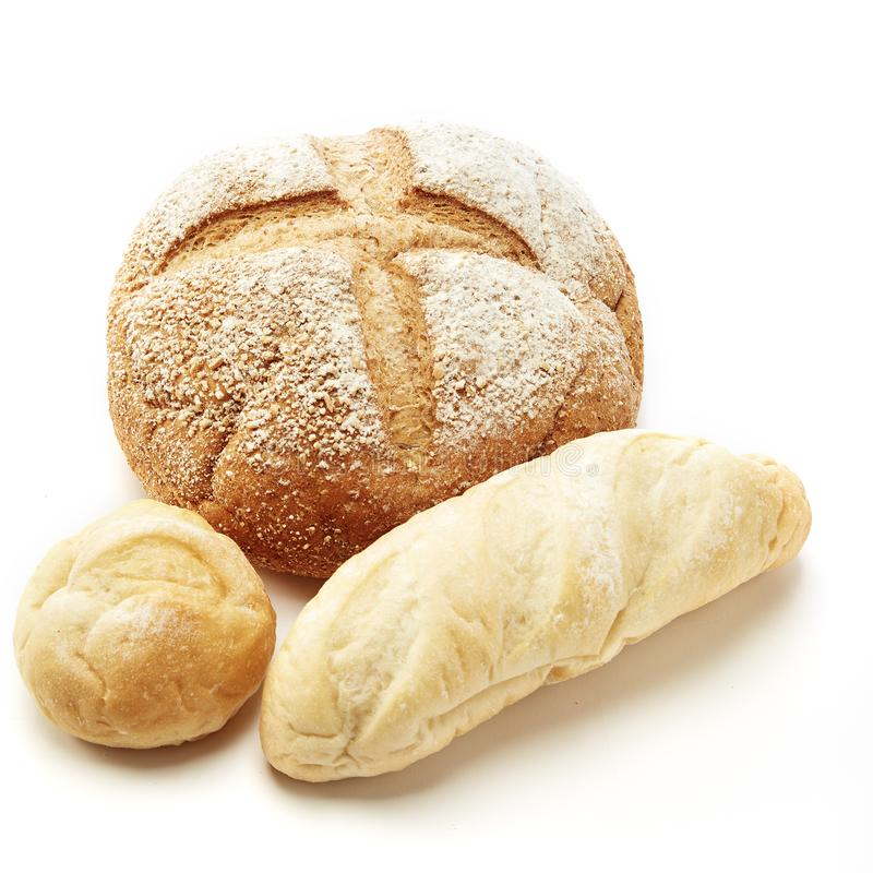Traditional homemade french bread. On a white background stock photo