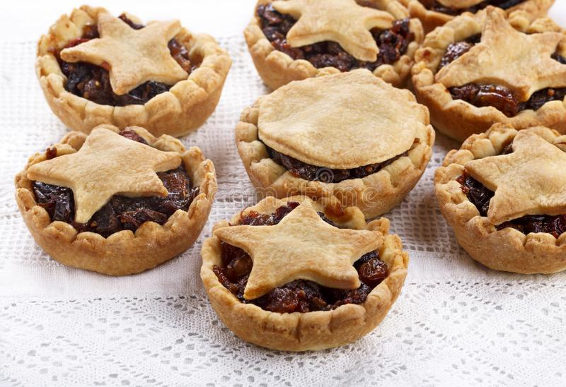 Traditional homemade fruit mince pies on white royalty free stock photo