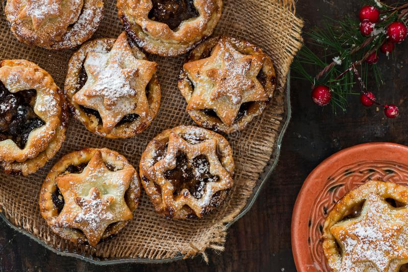 Traditional homemade mince pies. Christmas baking stock photography