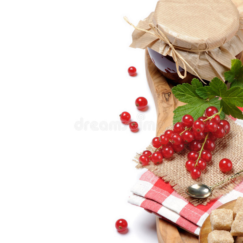 Traditional homemade redcurrant jam royalty free stock photography