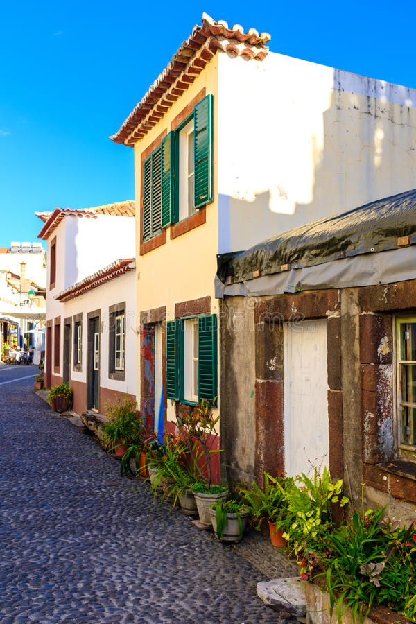 Streets of Funchal. Traditional homes in downtown Funchal, Madeira, Portugal stock images