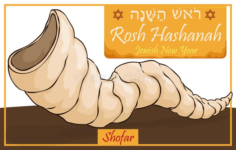 Traditional Horn or Shofar for Jewish New Year Celebration, Vector Illustration. Banner with traditional shofar -ram horn- for Rosh Hashanah -written in Hebrew stock illustration