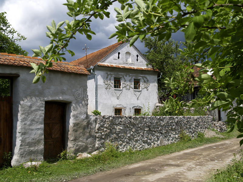 Traditional house in Comanesti, Romania royalty free stock photography