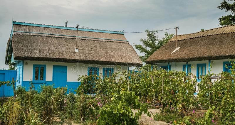 Traditional house in Danube Delta, Letea, Romania royalty free stock photography