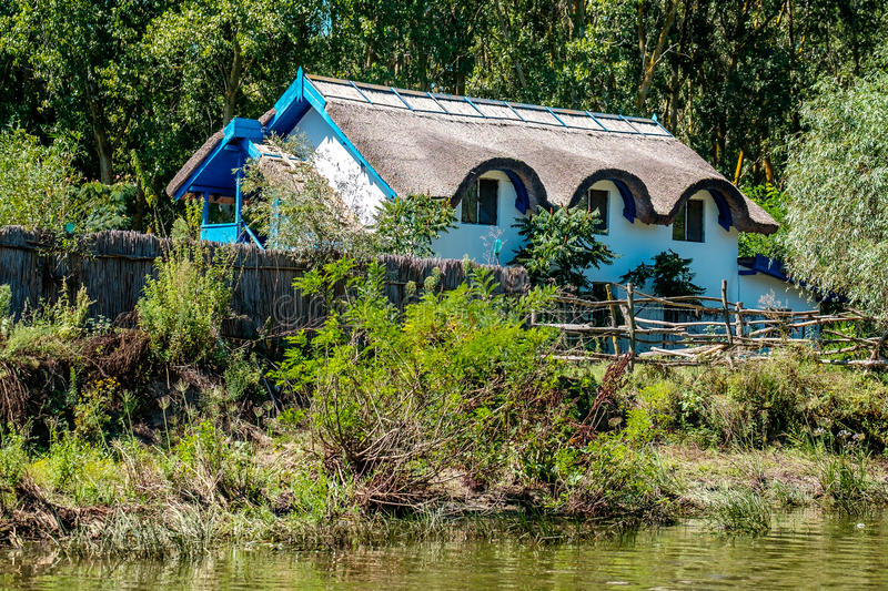 Traditional house in Danube Delta. royalty free stock photo